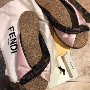 Fendi logo print espadrille sandals size 40